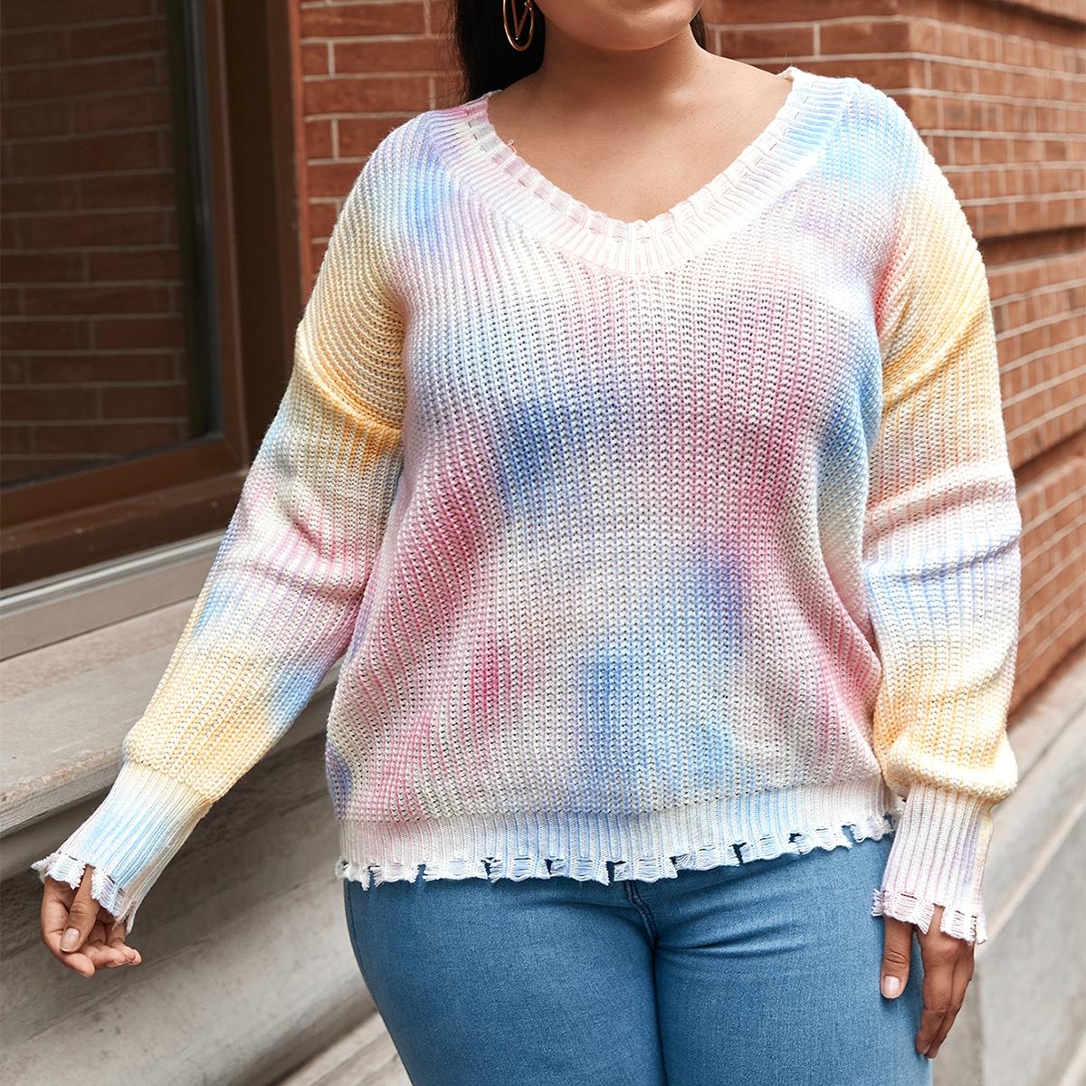 Рваный свитер размера плюс с принтом тай дай