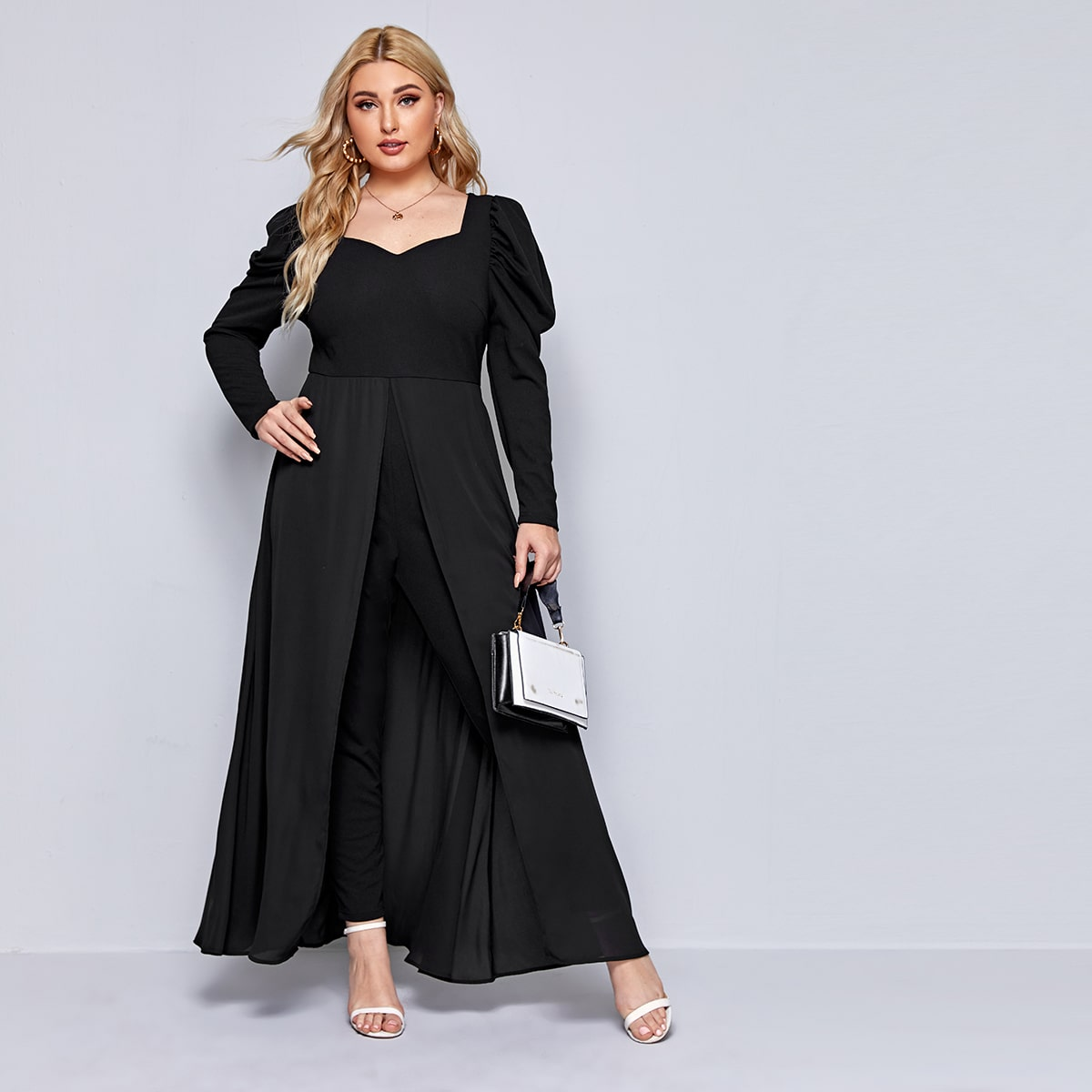 Plus Sweetheart Neck Gigot Sleeve Jumpsuit With Skirt