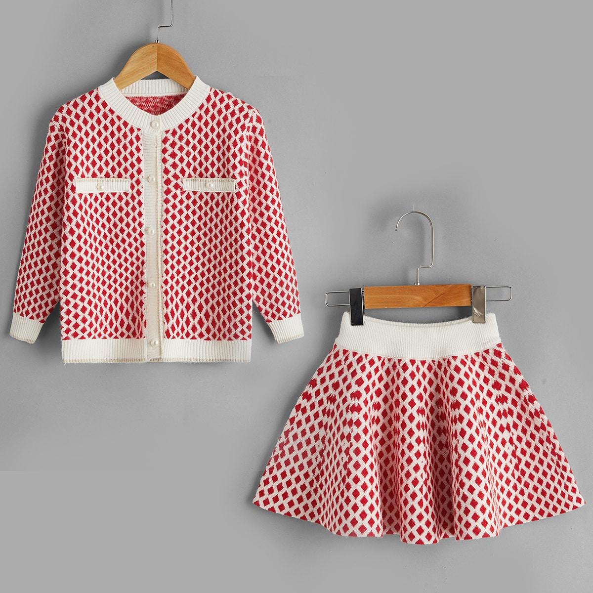 Кардиган и трикотажная юбка с геометрическим узором для девочек