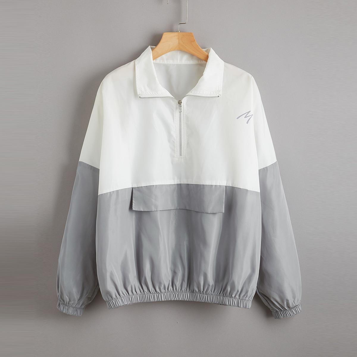 на молнии Контрастный цвет Повседневный Куртки размер плюс