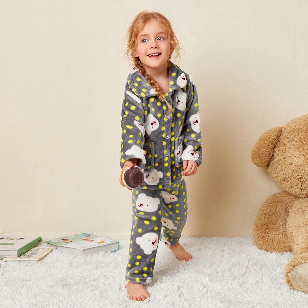 Фланелевая пижама в горошек с мультипликационным принтом для девочек