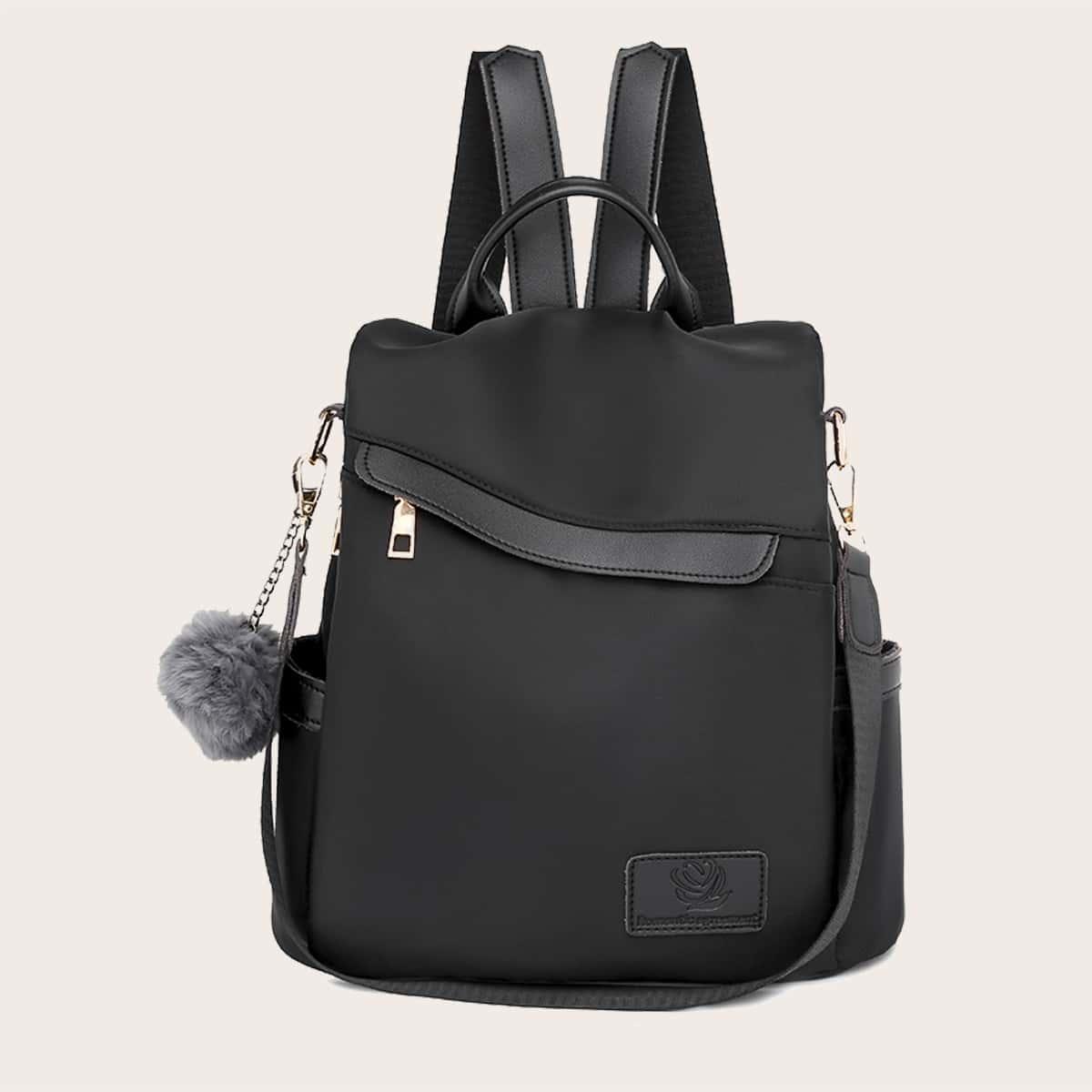 Рюкзак с помпоном и съемным ремешком