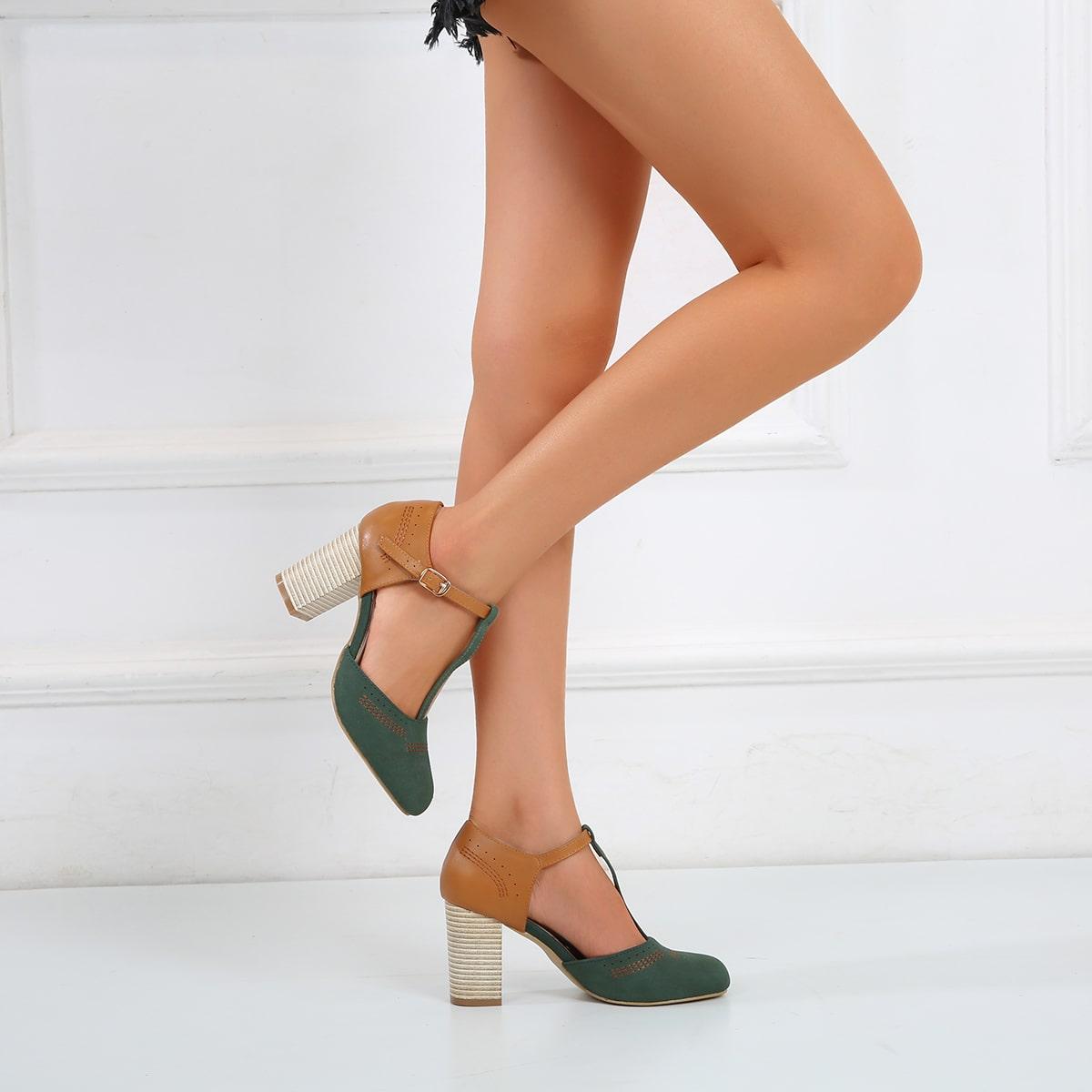 Ремешок на щиколотке контрастный цвет каблуки