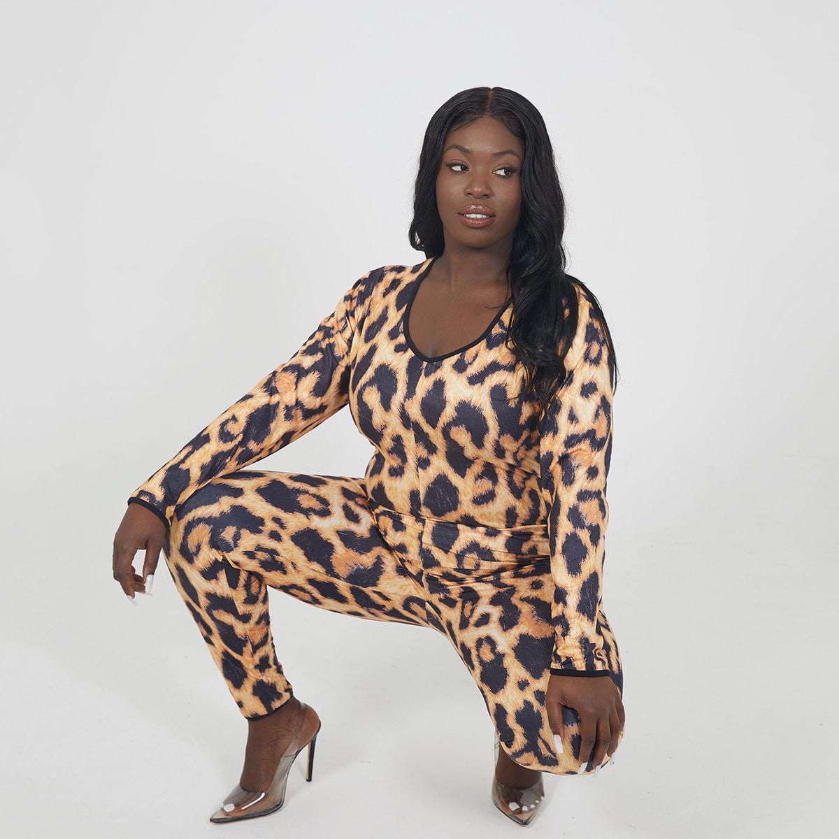 Леопард элегантный комбинезоны размер плюс