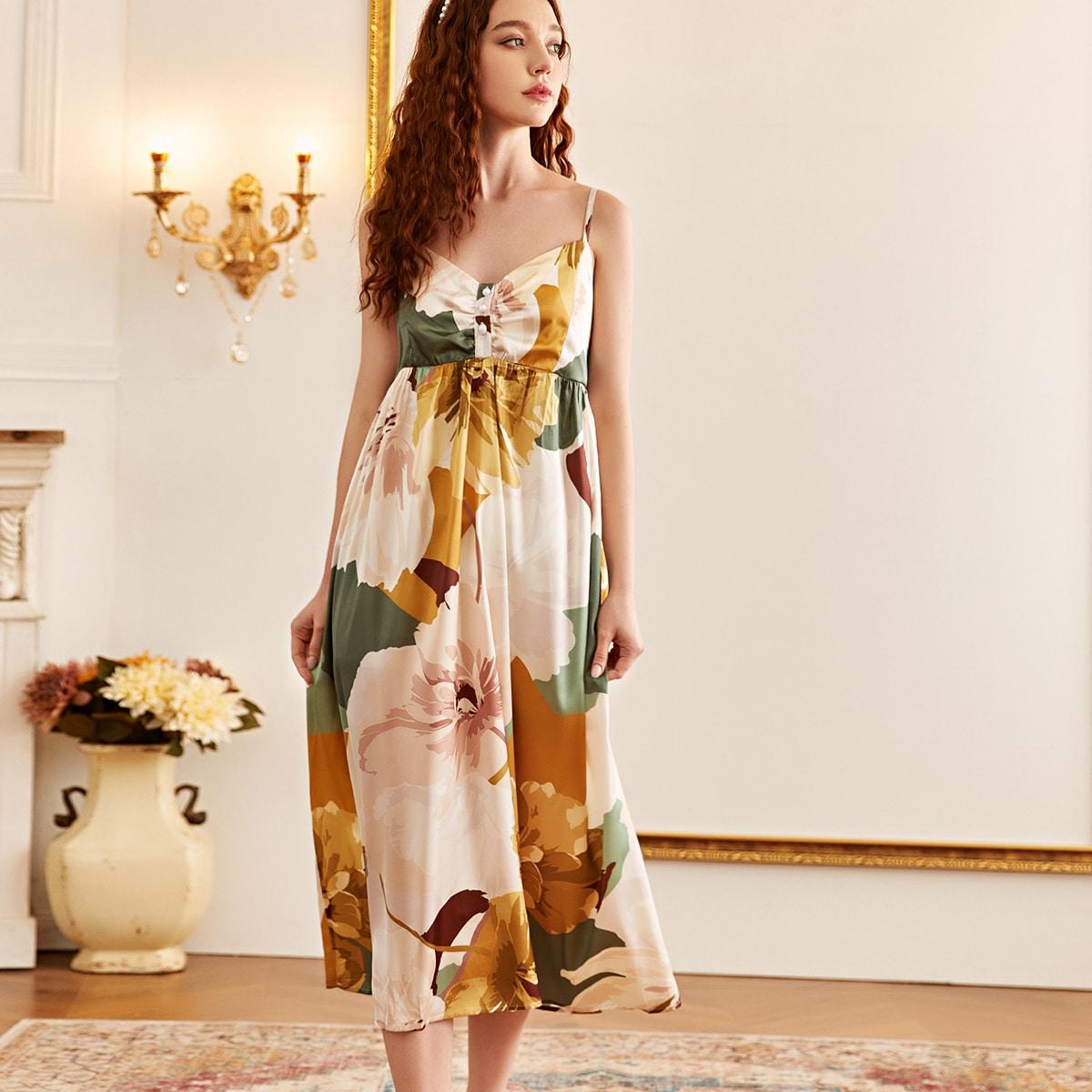 2 pièces Robe de nuit en satin fleurie & Robe de chambre