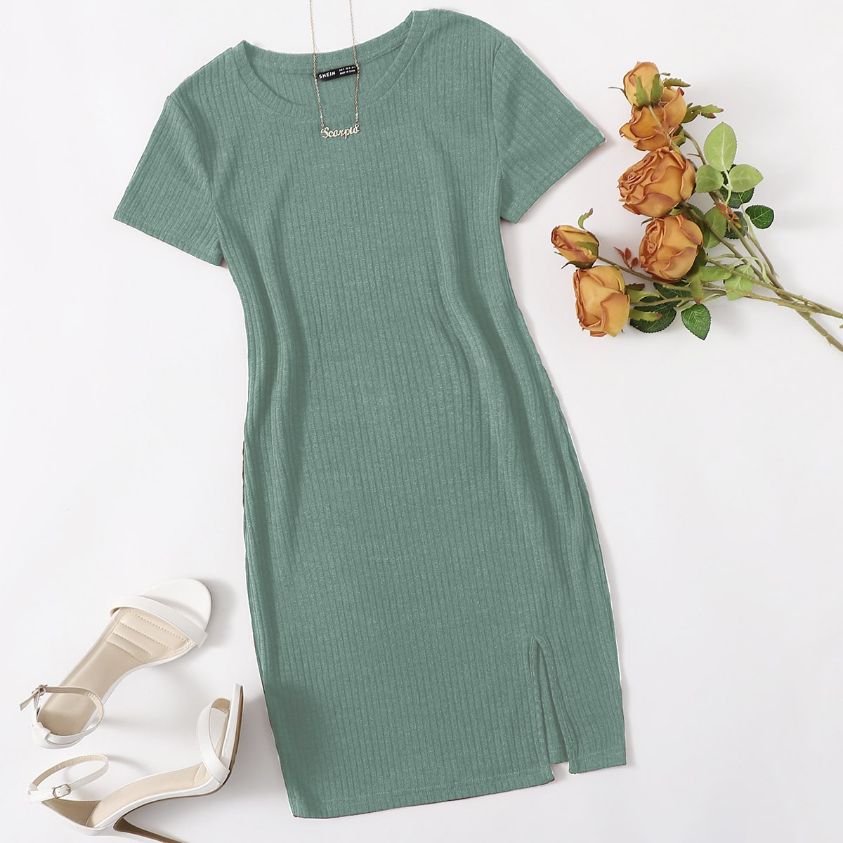 Rib-knit Split Hem Dress