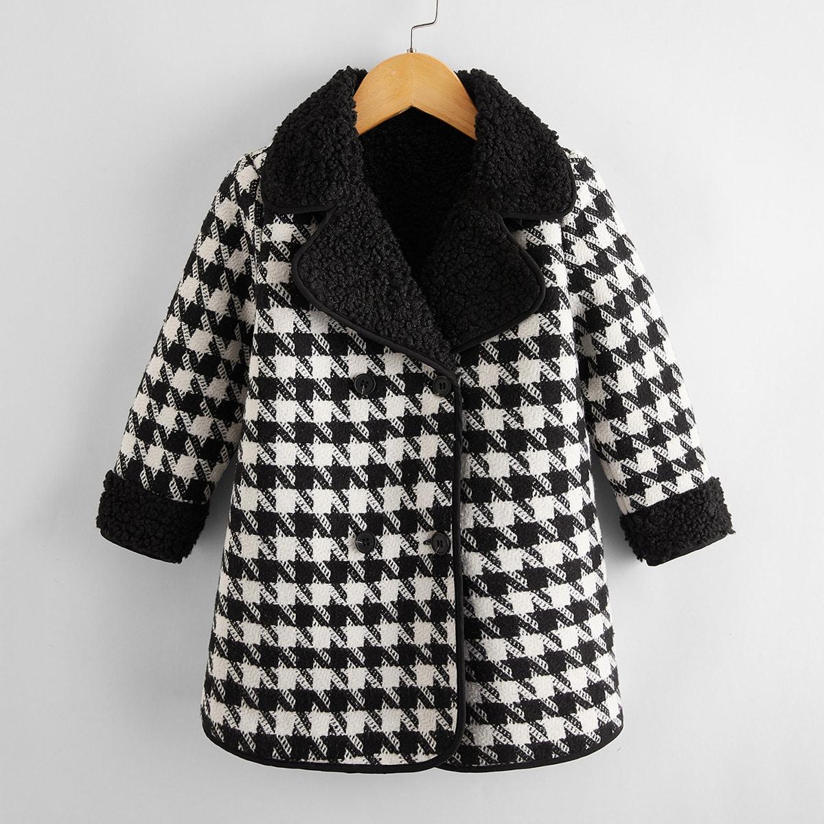 Двойная кнопка Ломаная клетка Повседневный Пальто для маленьких девочек