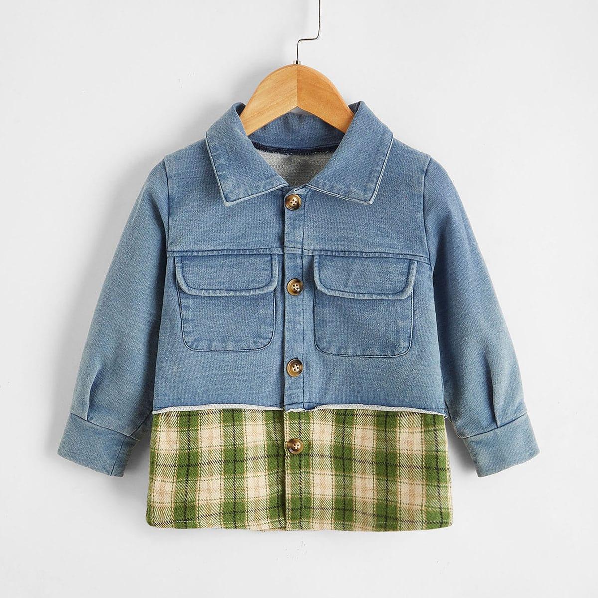 Джинсовая куртка для мальчиков с клетчатыми карманами с клапанами