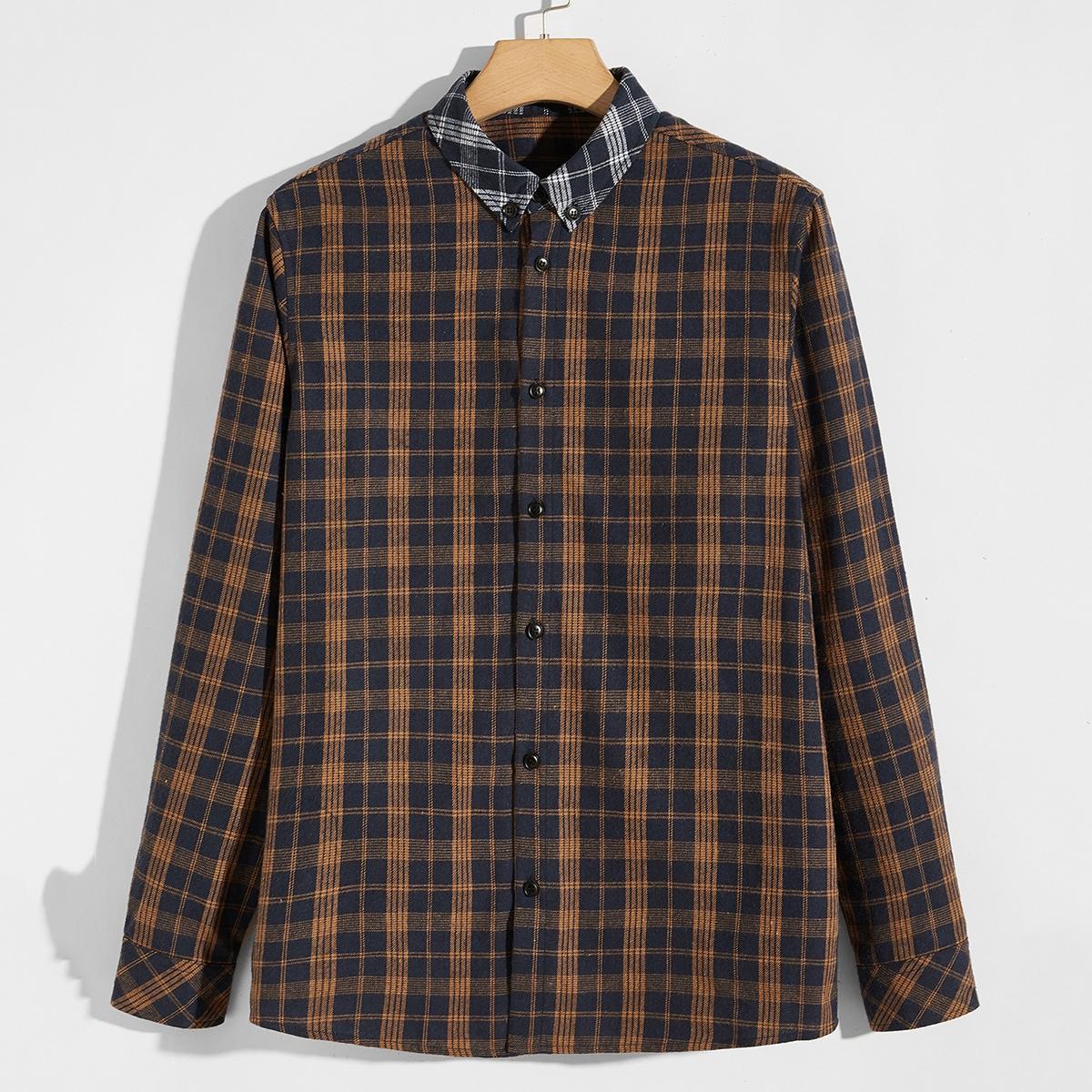 Контрастный воротник клетчатый институтский мужские рубашки