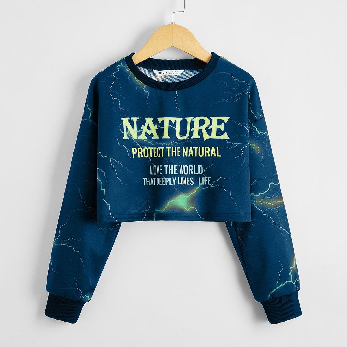 Пуловер с текстовым принтом для девочек
