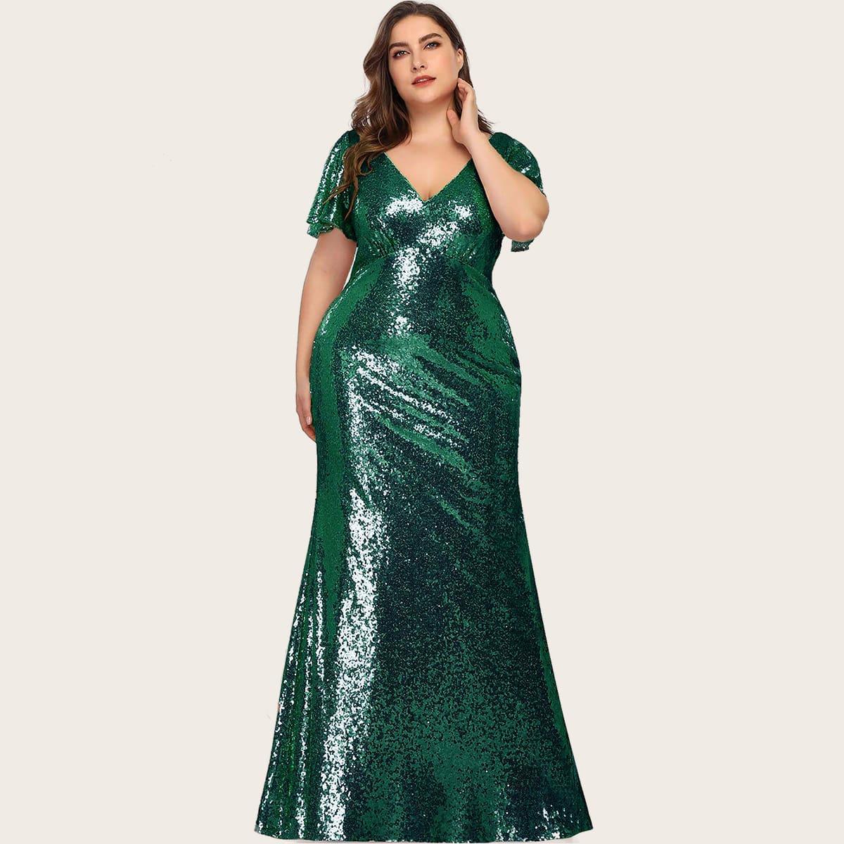 Блестящее платье-русалка размера плюс
