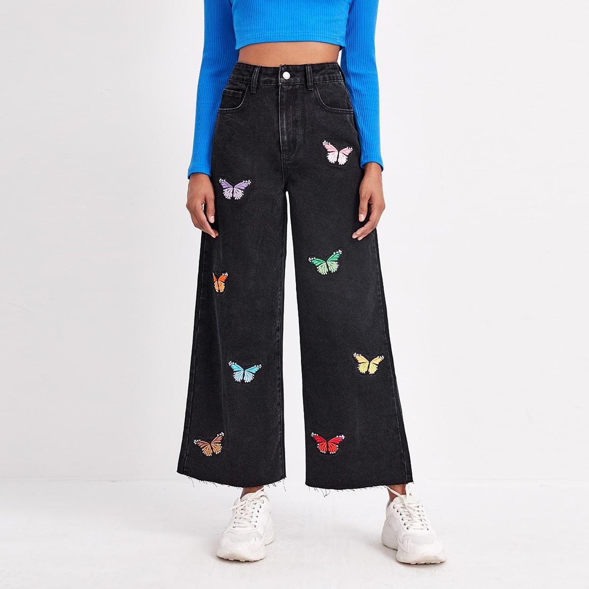 Широкие джинсы с вышивкой бабочки и высокой талией