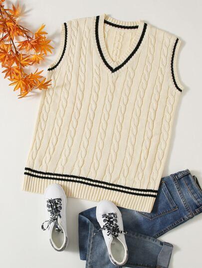 Plus Striped Cable Knit Sweater Vest