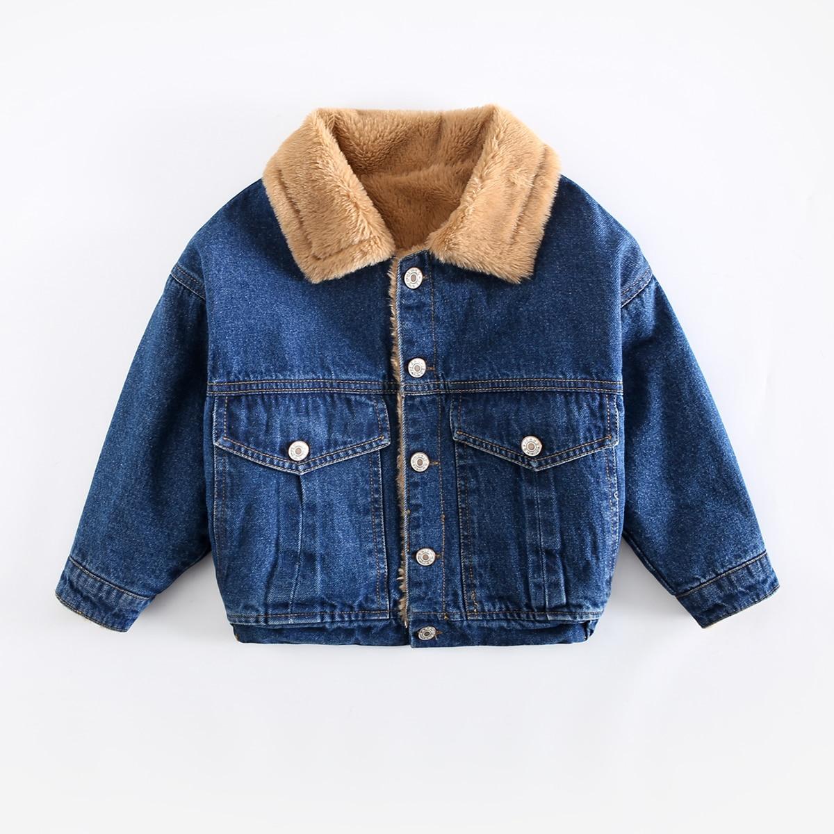 Джинсовая куртка с текстовой вышивкой и плюшевой подкладкой для мальчиков