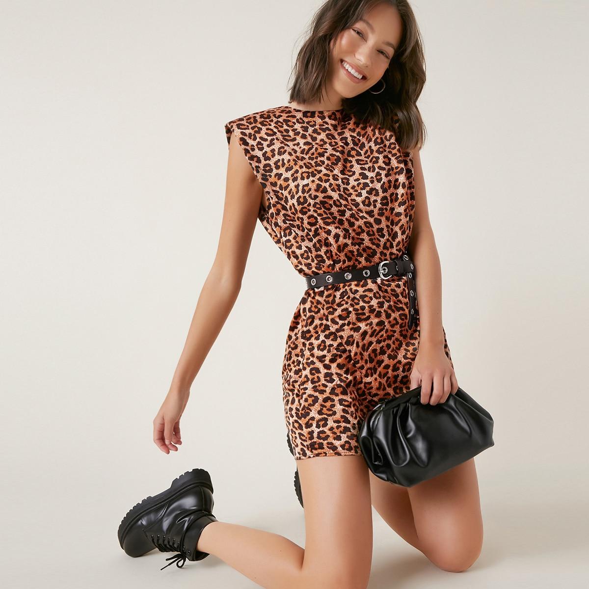 Платье с плечиками и леопардовым принтом без пояса