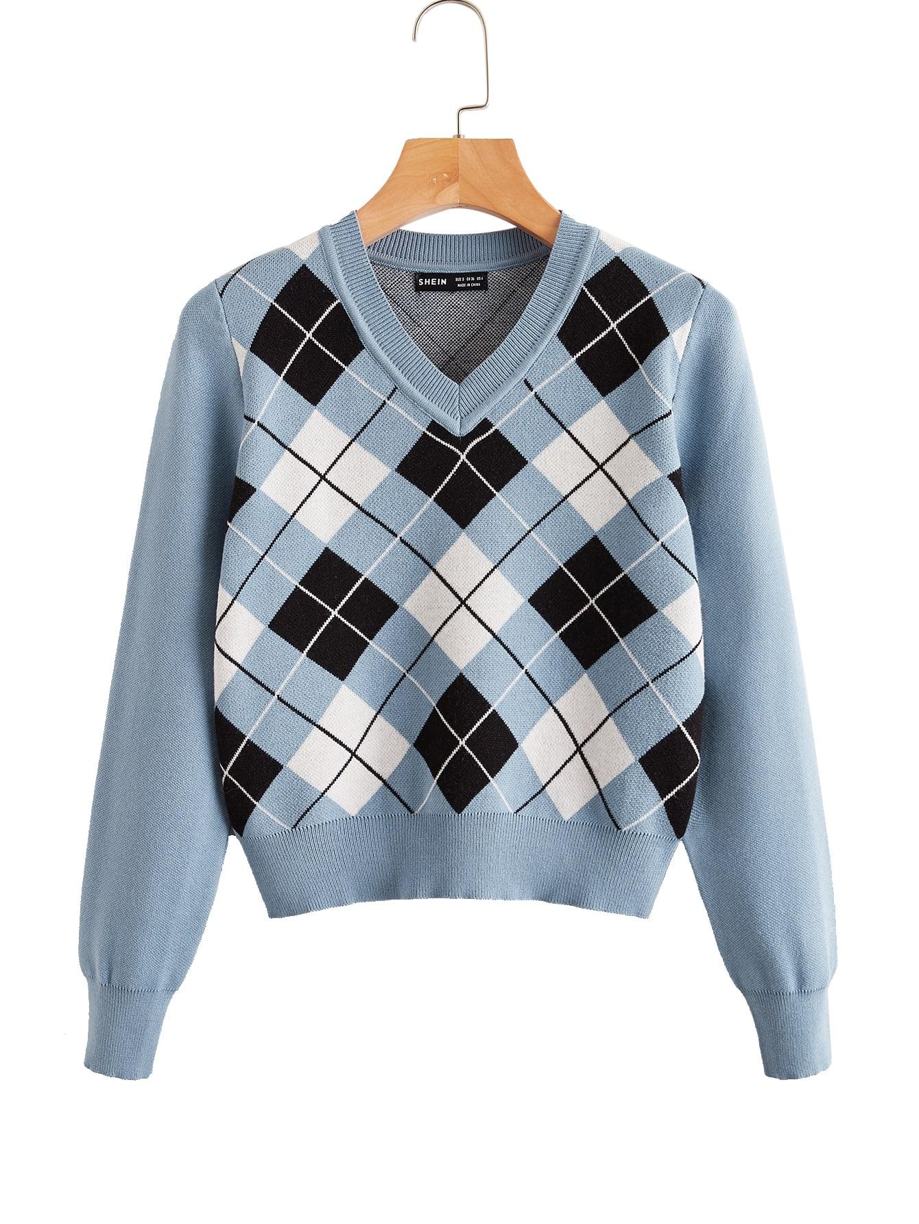 V Neck Argyle Pattern Sweater thumbnail