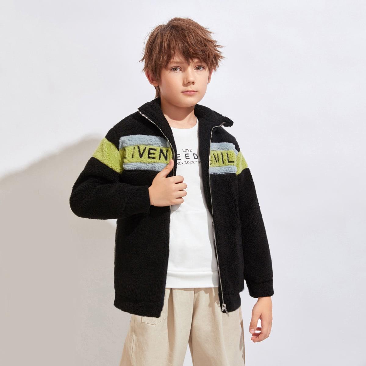 Контрастное плюшевое пальто с вышивкой для мальчиков