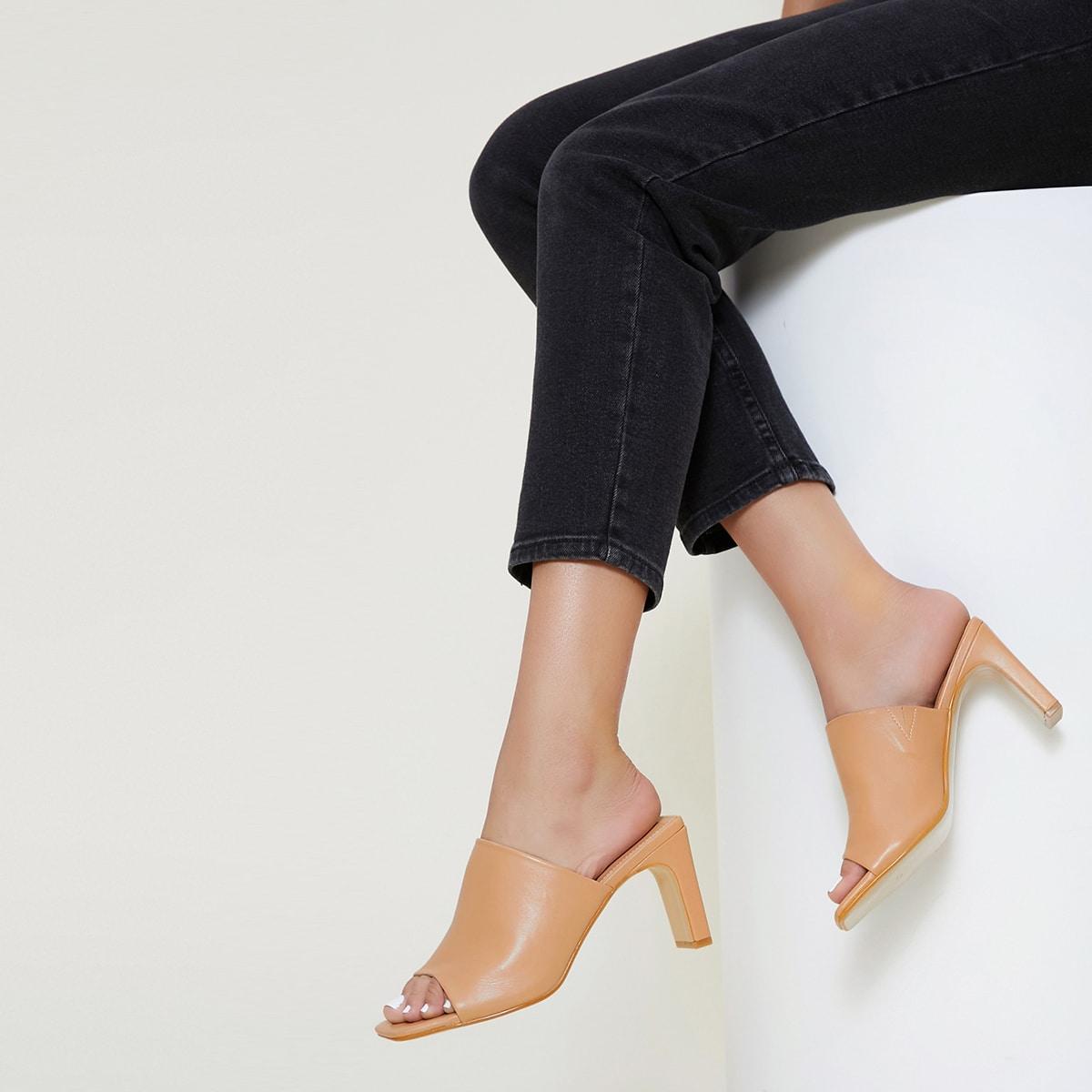Мюли на каблуке из искусственной кожи