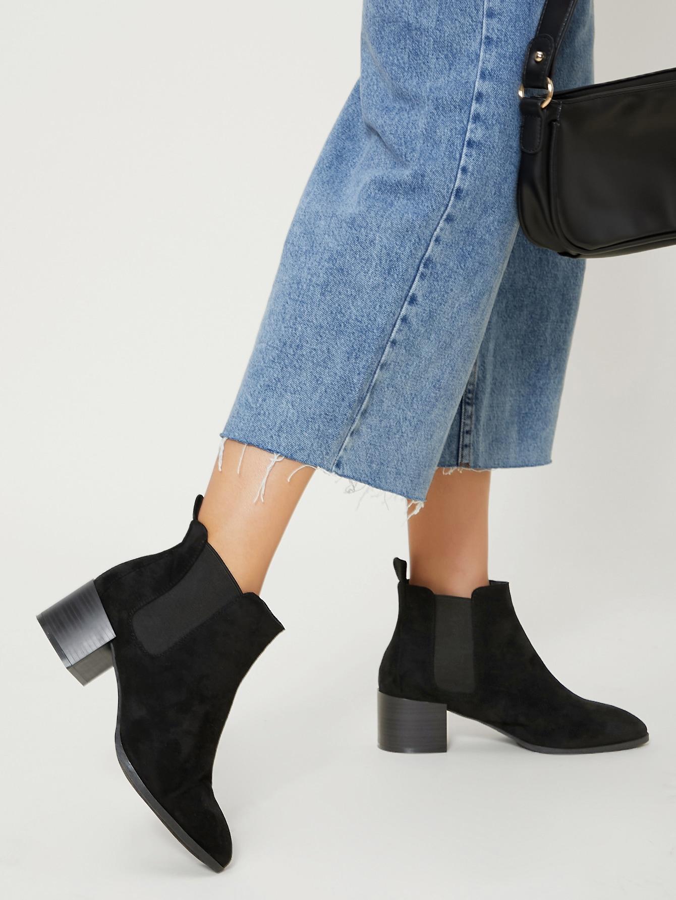 Faux Suede Low Block Heel Chelsea Boots