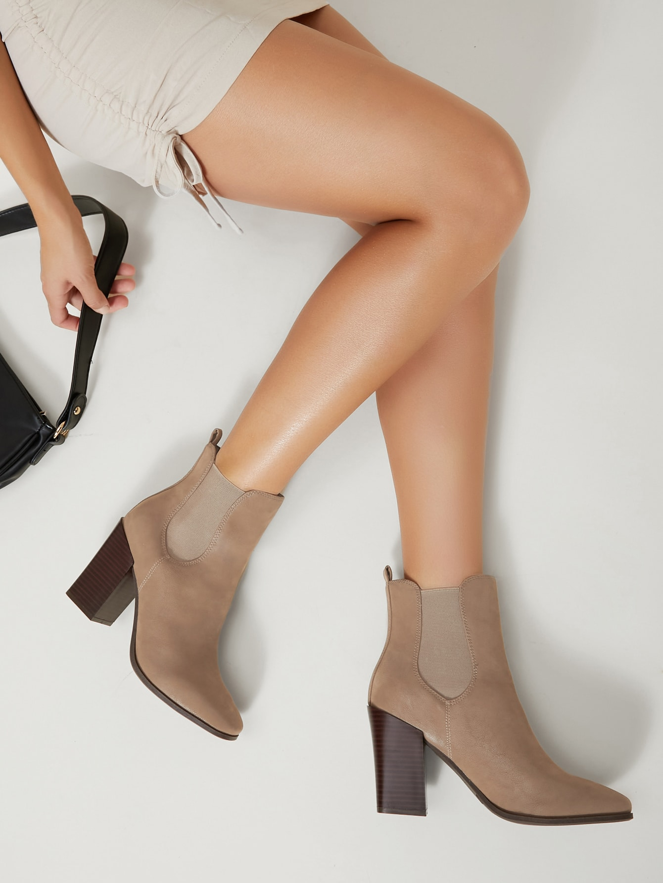 Faux Leather Block Heel Ankle Chelsea Boots