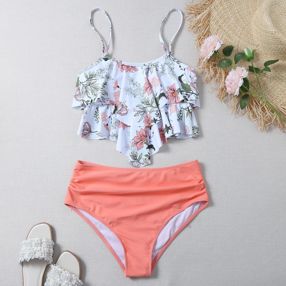 Floral Hanky Hem High Waisted Bikini Swimsuit
