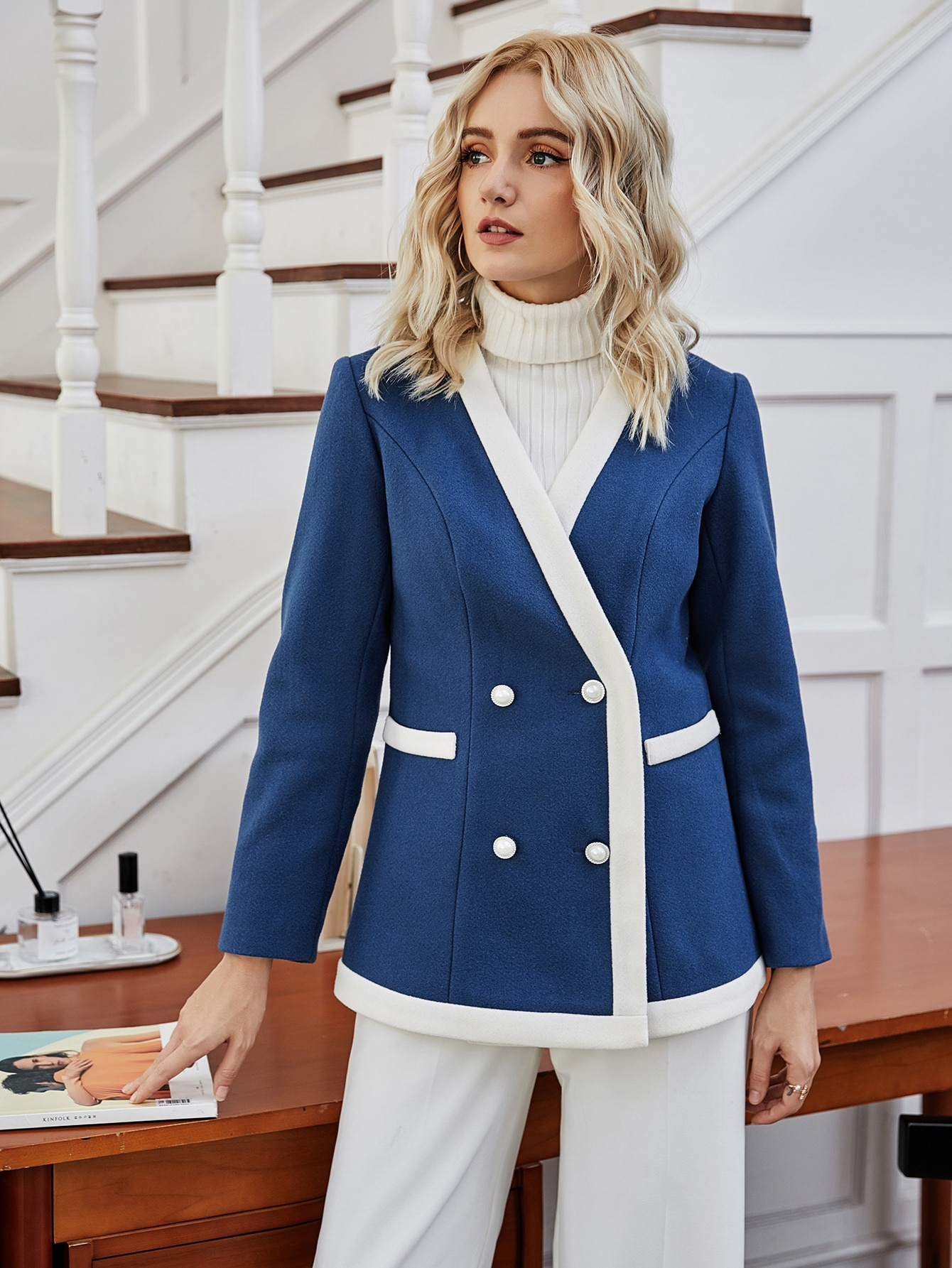 contrast binding double breasted coat