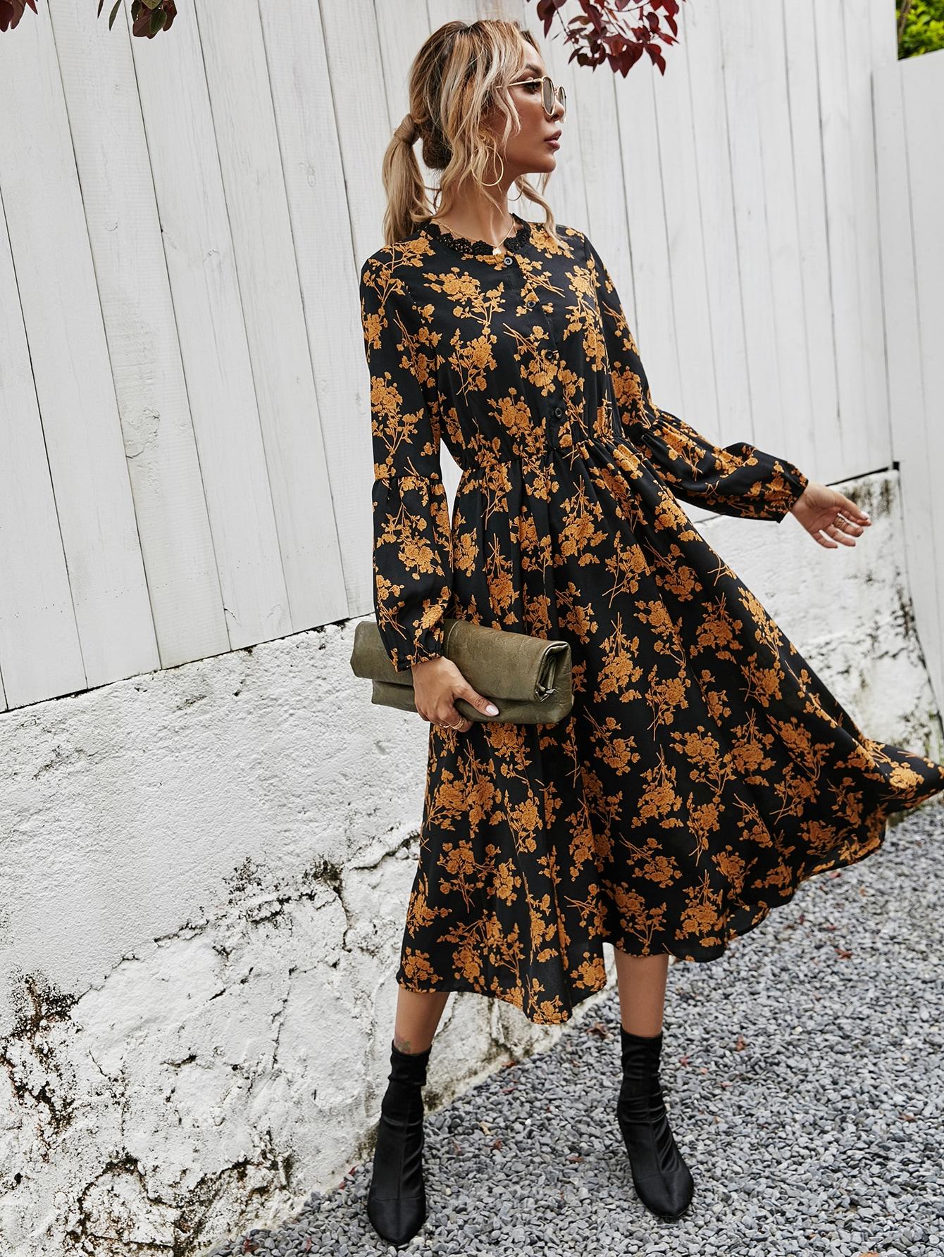 Allover Floral Lace Trim Button Up Shirt Dress thumbnail