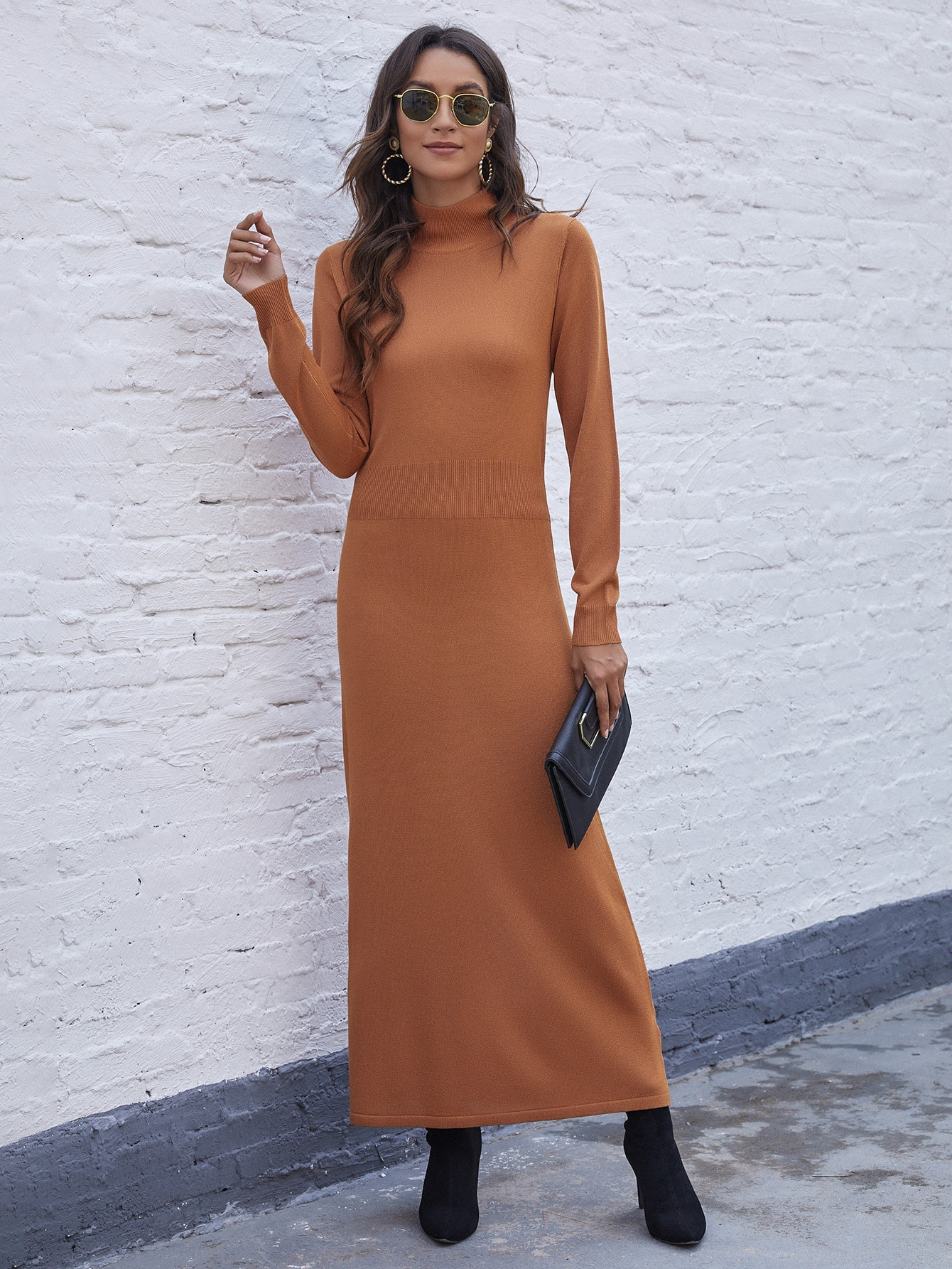 Solid High Neck Maxi Sweater Dress thumbnail