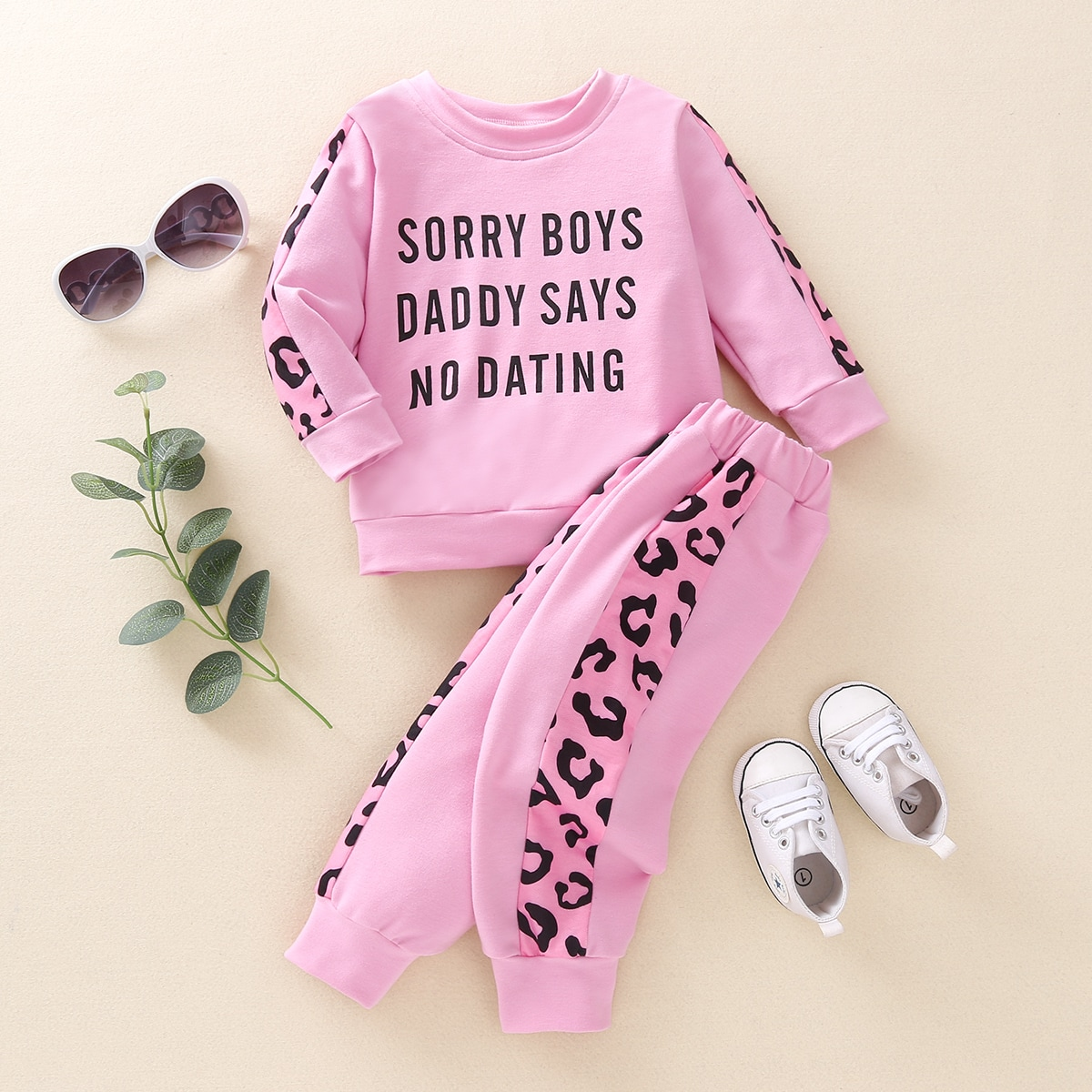 Свитшот и спортивные брюки с текстовым принтом для девочек