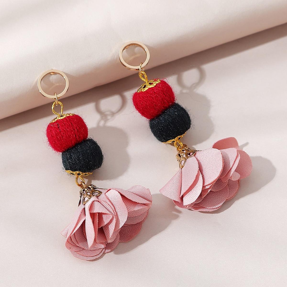 Pom Pom & Flower Charm Drop Earrings