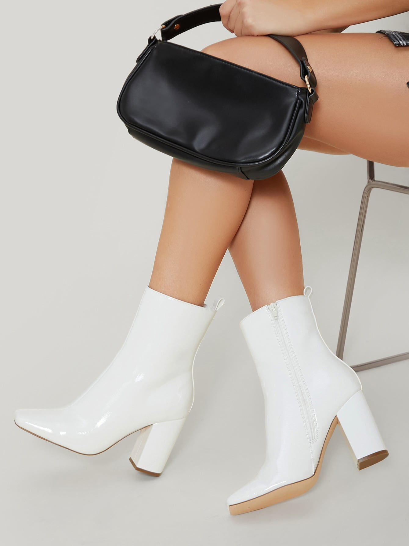 Vegan Patent Leather High Block Heel Ankle Boots