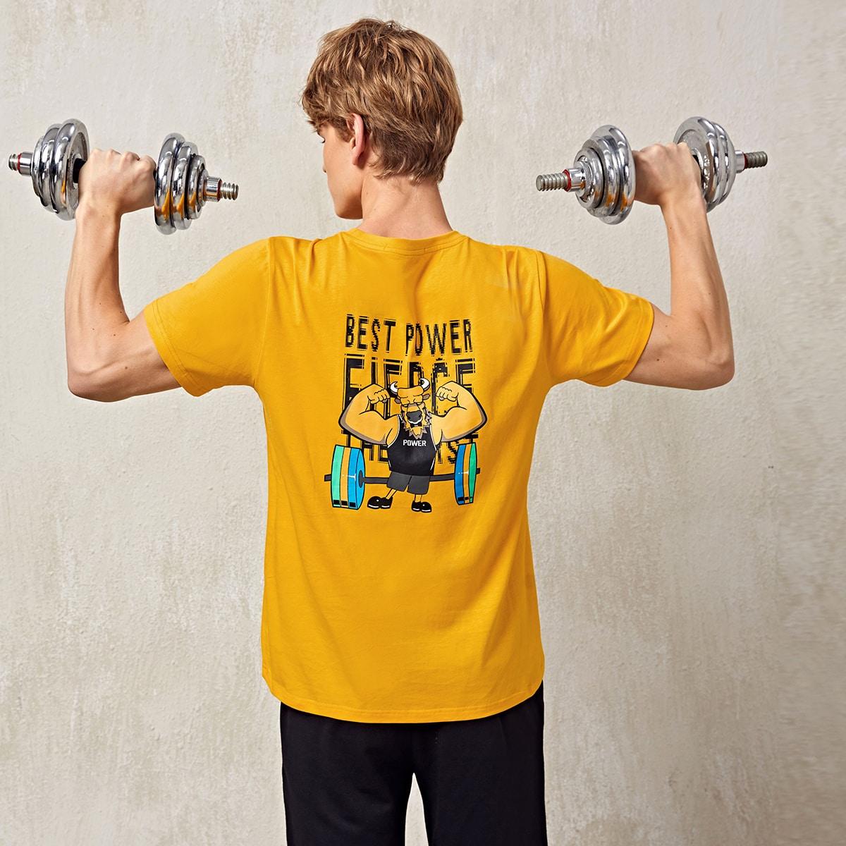 Мужская спортивная футболка с рисунком быка