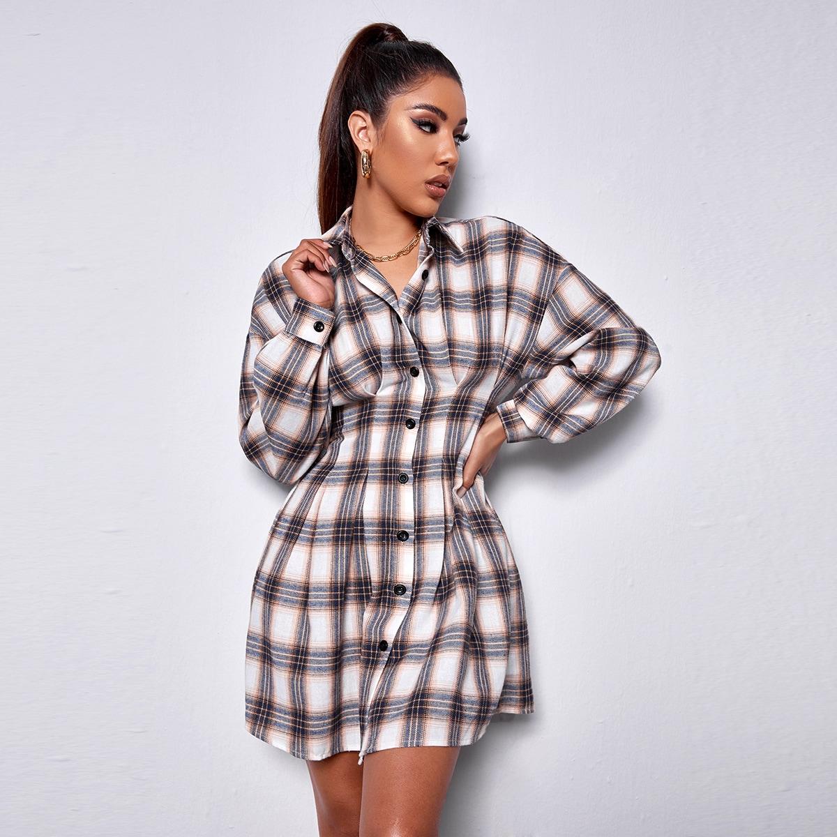 Drop Shoulder Plaid Shirt Dress