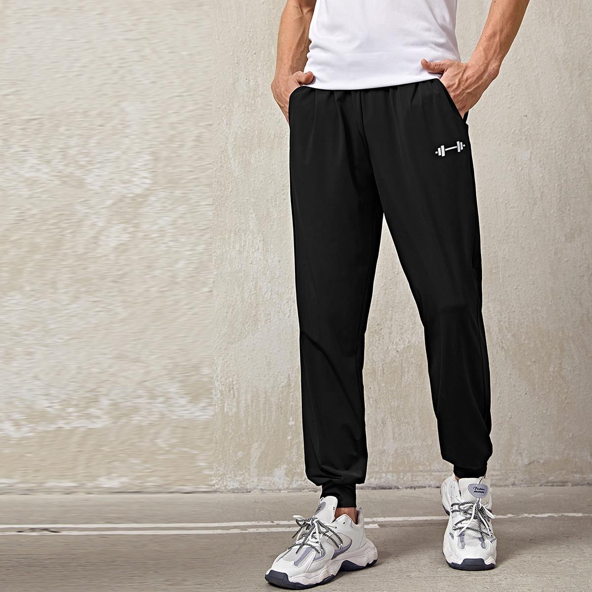 Мужские спортивные брюки с графическим принтом и кулиской на талии