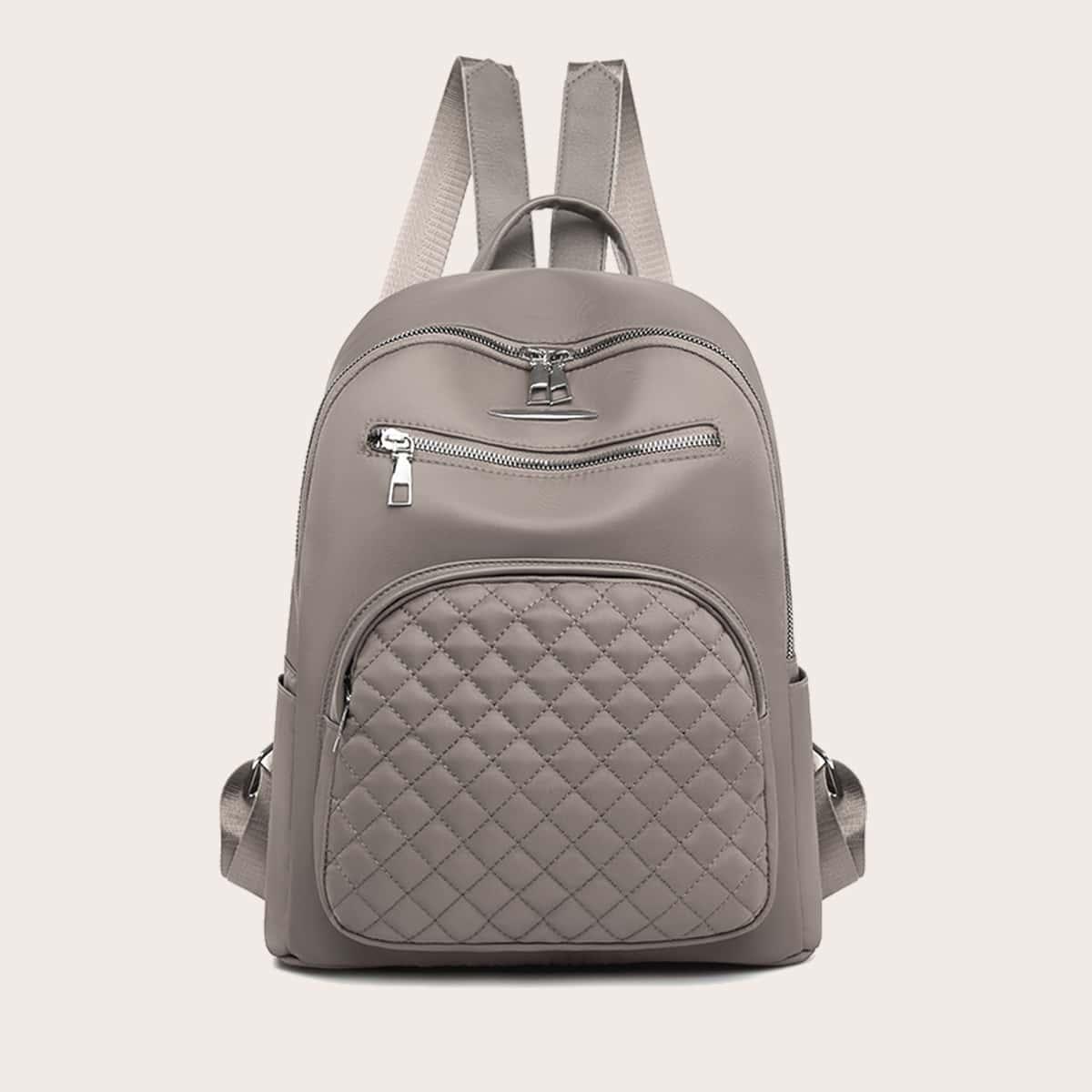 Стеганый рюкзак с двойной молнией