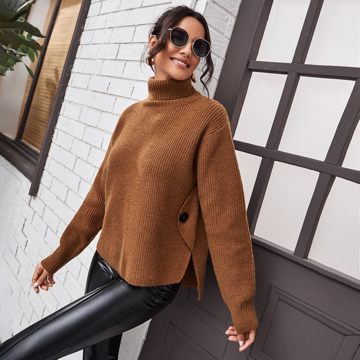 Turtle Neck Button Side Sweater