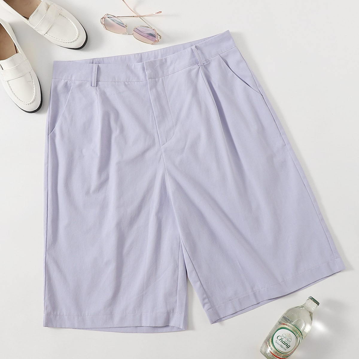С карманами одноцветный повседневный шорты размер плюс
