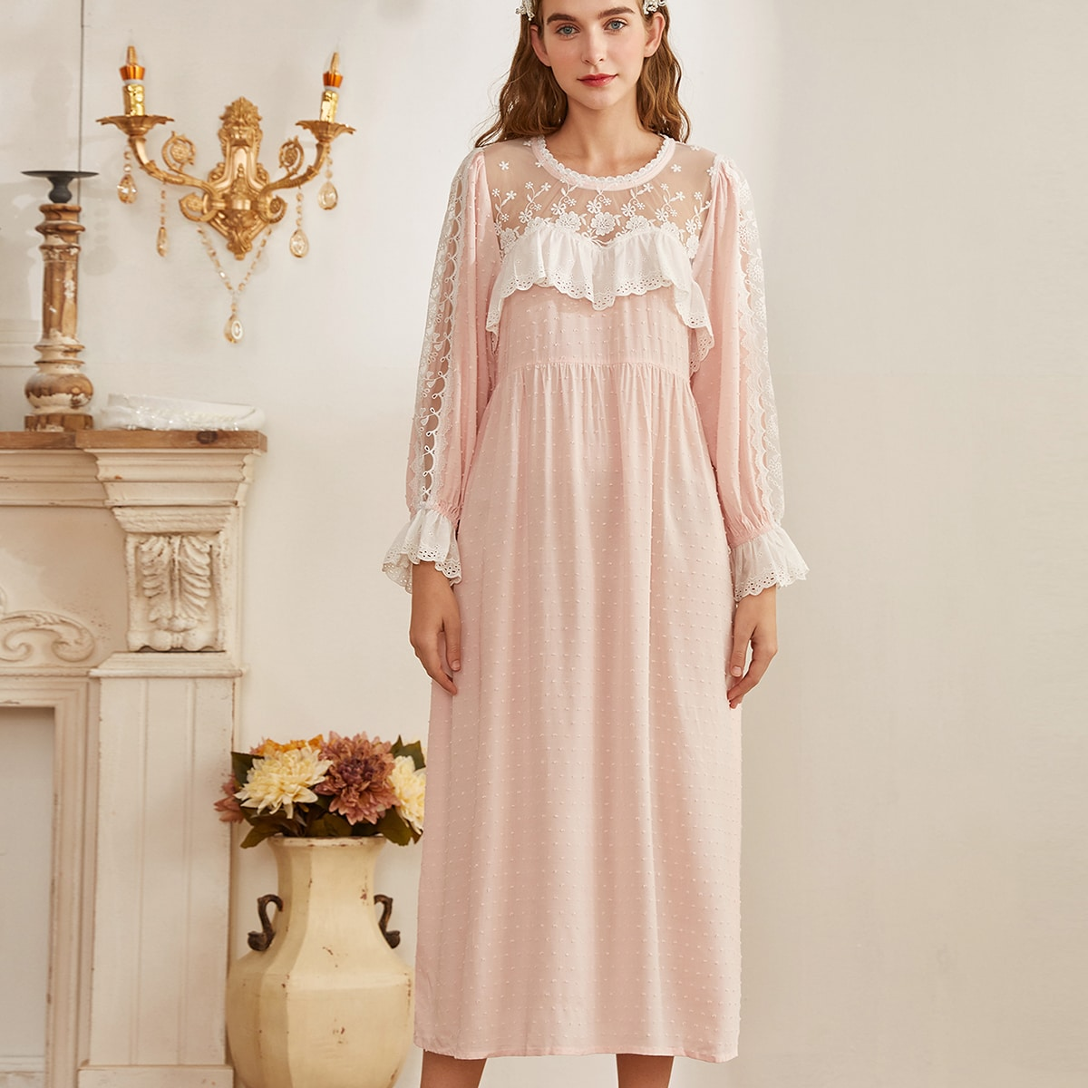 с оборками Контрастный цвет Королевский Ночная рубашка