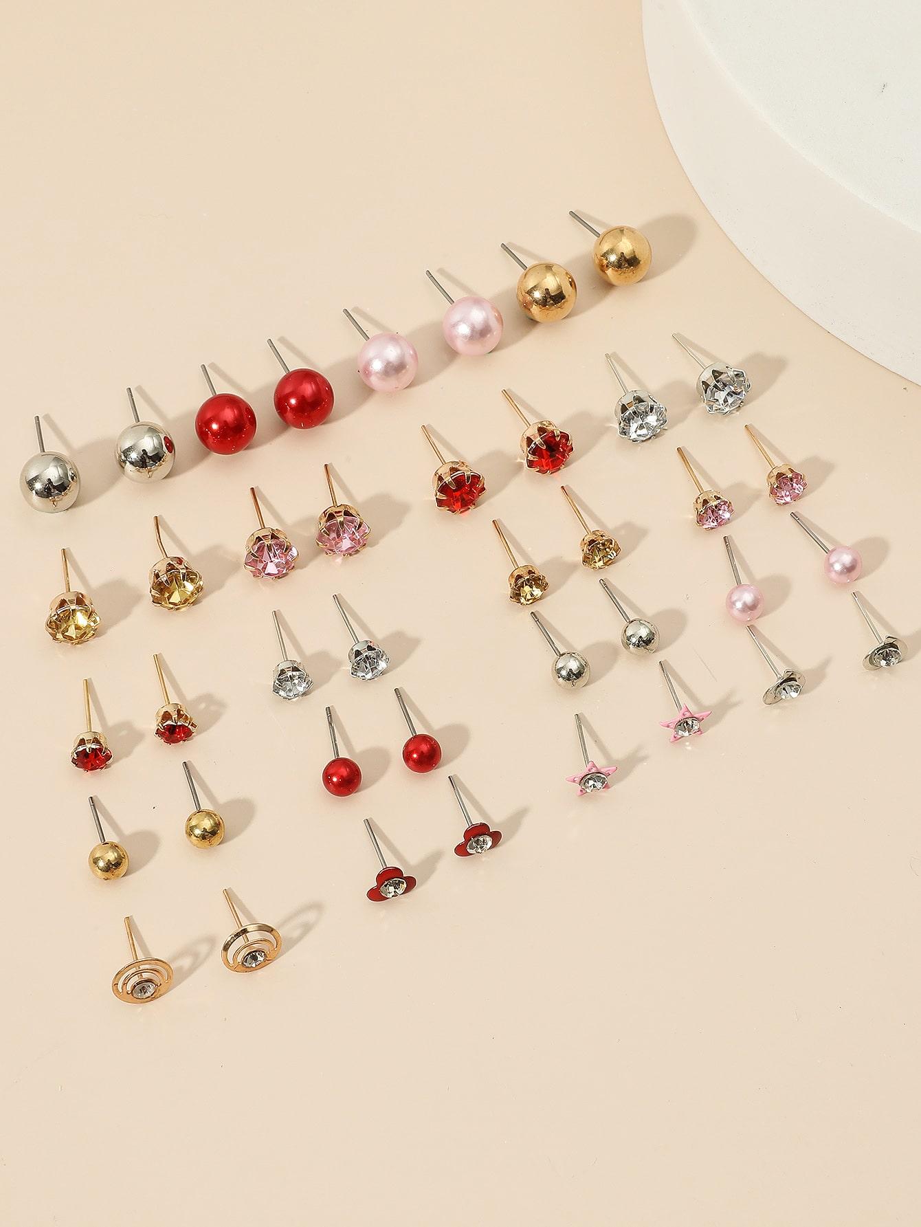 20pairs Rhinestone & Faux Pearl Decor Stud Earrings thumbnail