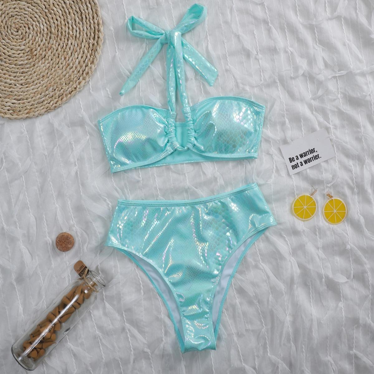 Snakeskin Metallic Halter Bikini Swimsuit
