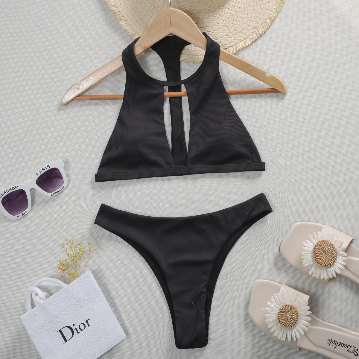 Cut Out Rib Bikini Swimsuit