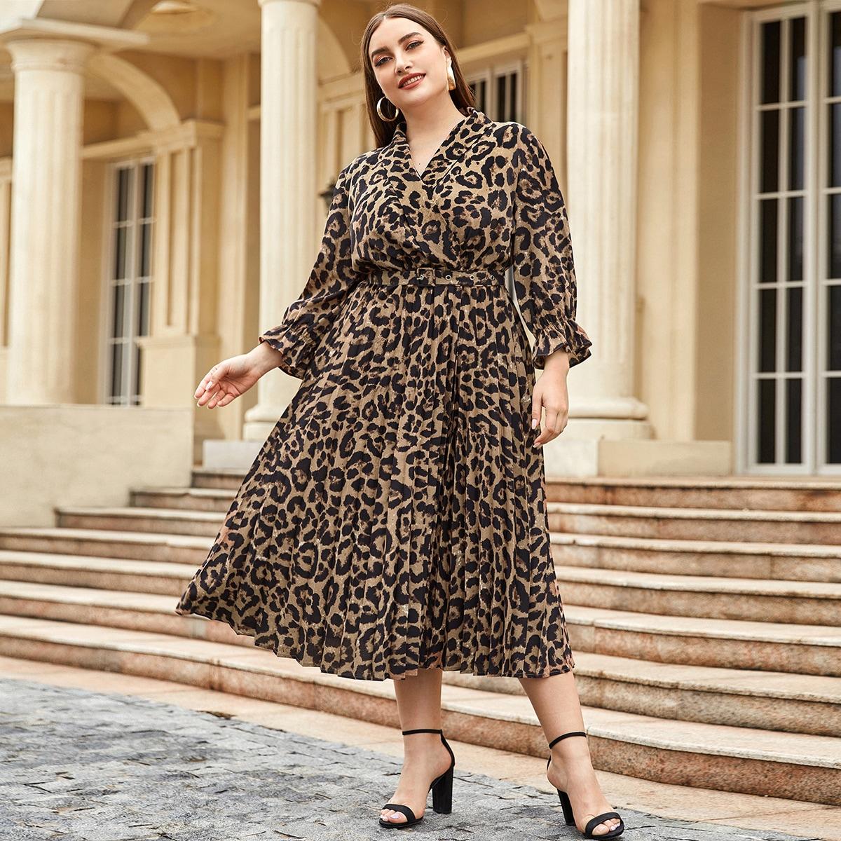 Кайма Леопардовый Элегантный Платья размер плюс