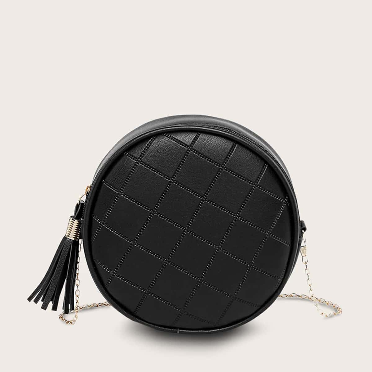 Стеганая круглая сумка с бахромой