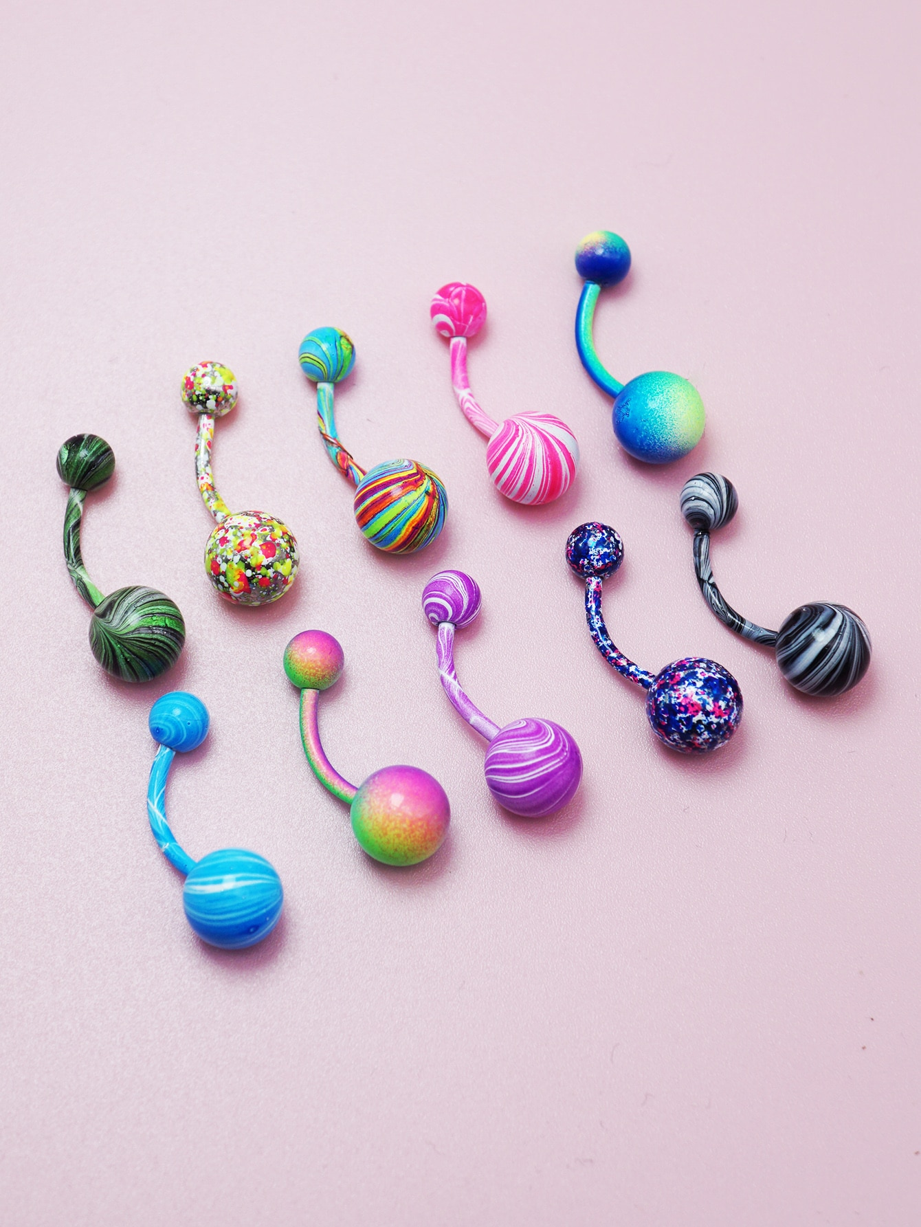10pcs Colorful Round Ball Decor Belly Ring thumbnail