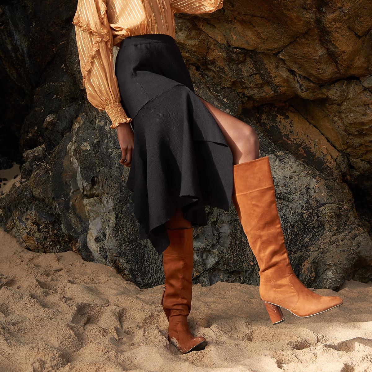С оборками одноцветный элегантный вязаные юбки
