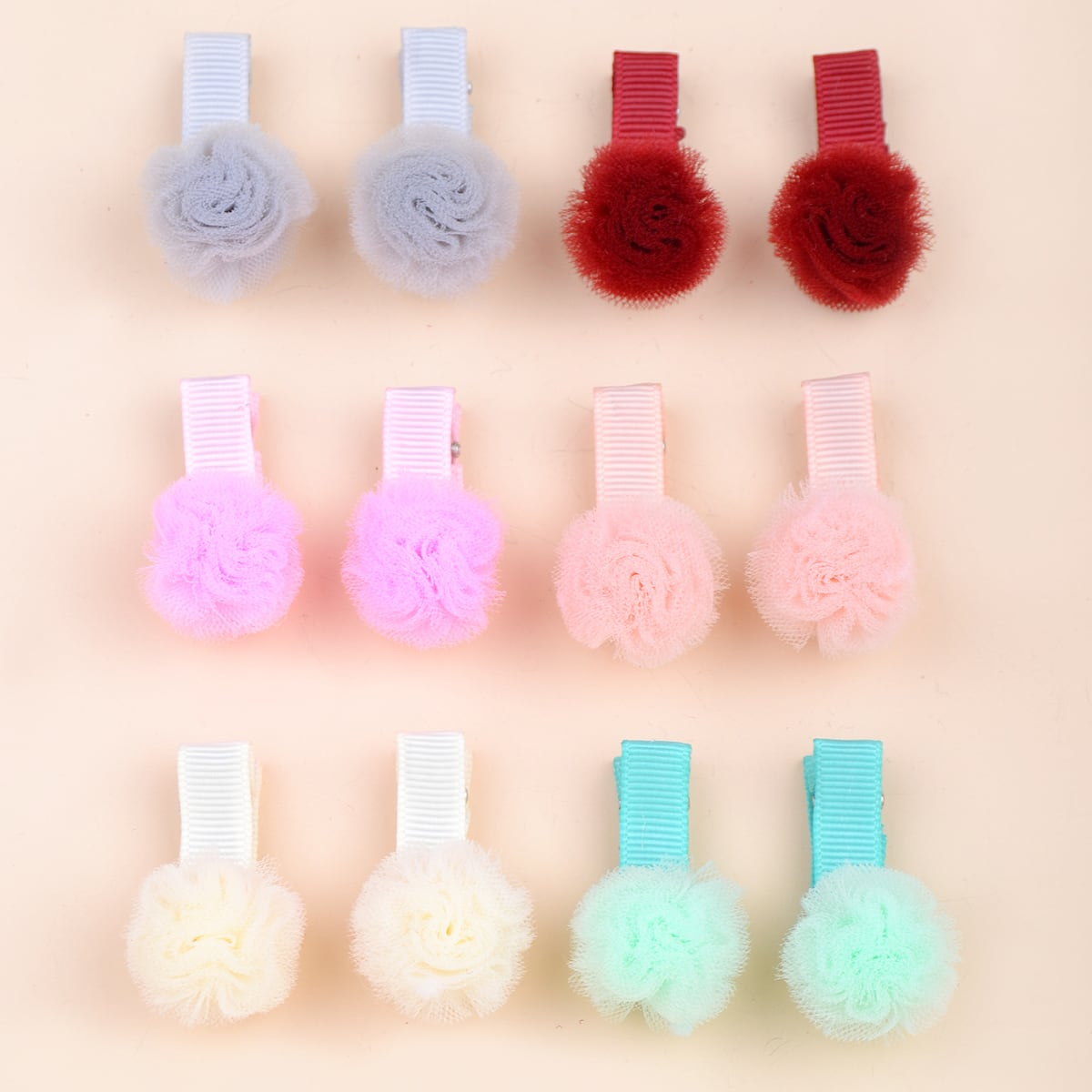 12pcs Baby Mesh Round Decor Hair Clip