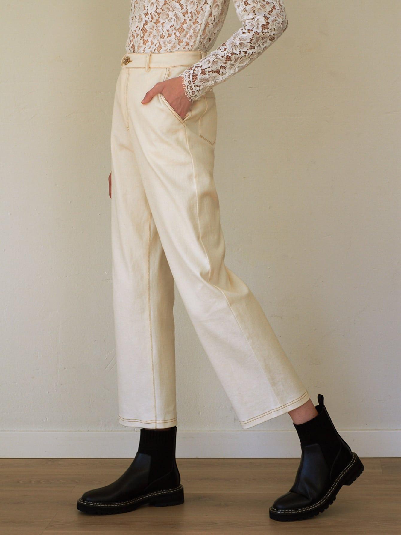 SPANDEX HIGH WAIST STRAIGHT LEG PANTS thumbnail