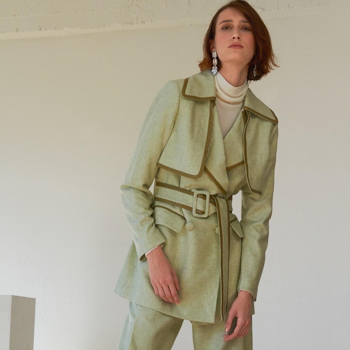 Пиджак оверсайз из смесовой шерсти с поясом