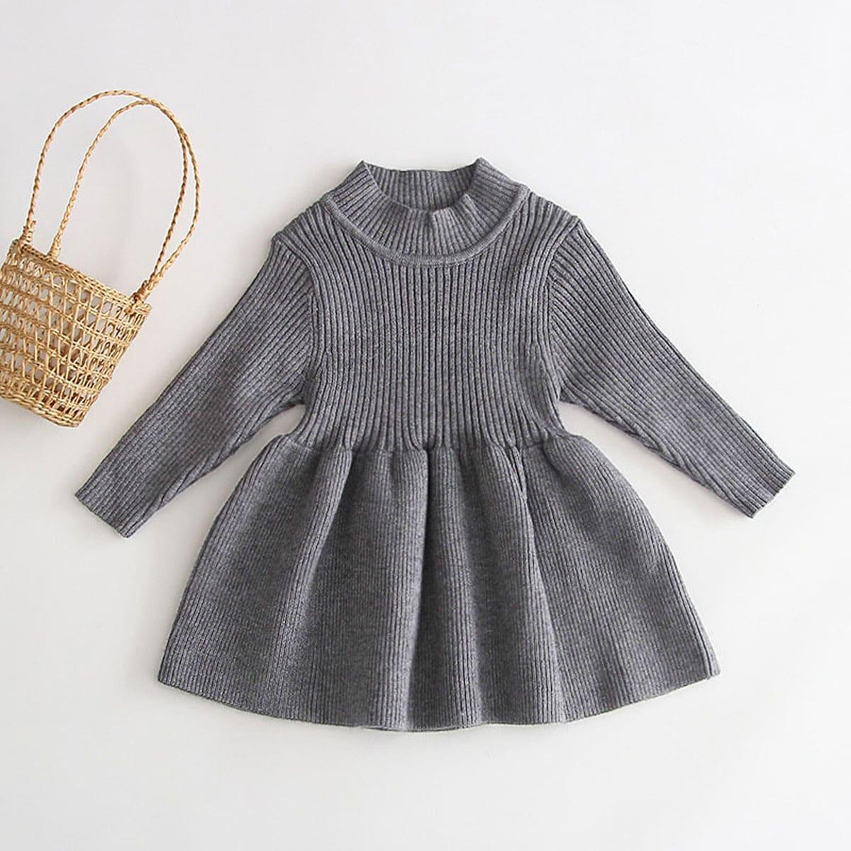 Однотонное трикотажное платье с воротником-стойкой для девочек
