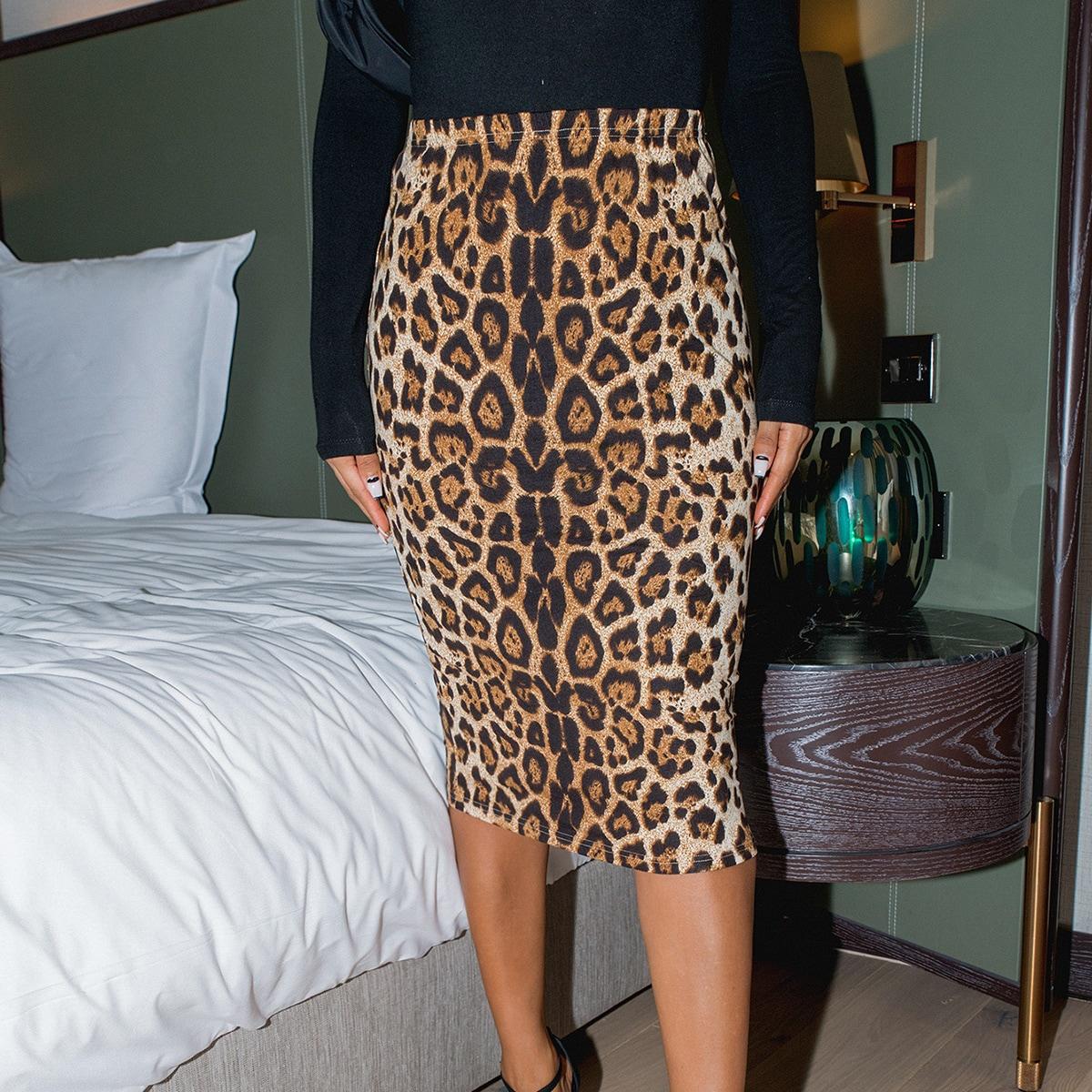 Леопардовый Элегантный Юбки